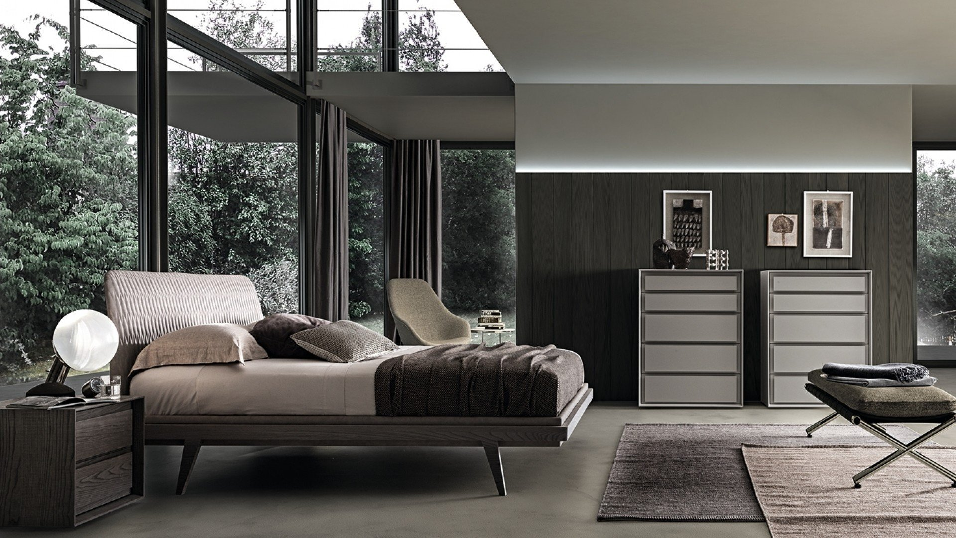 Bed 1950s Rovere Grey