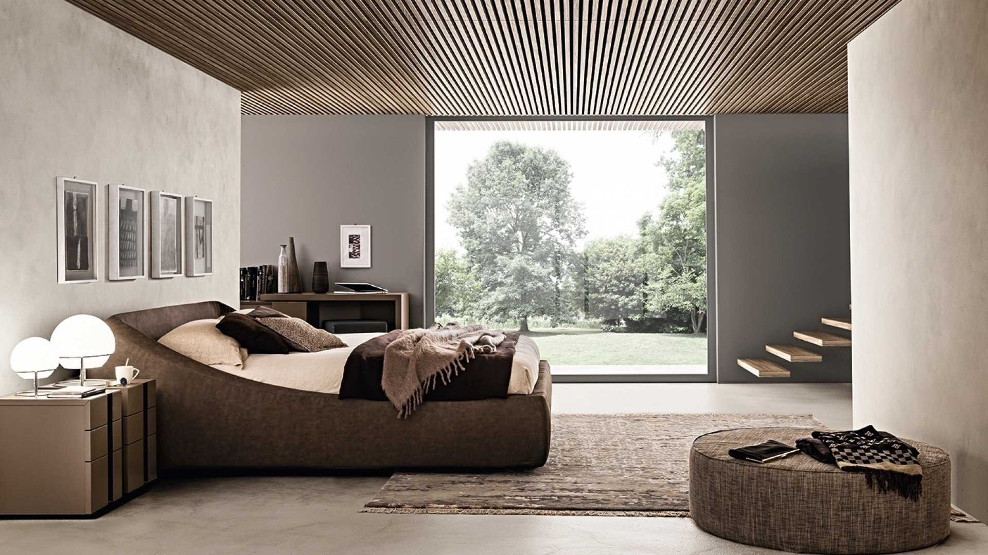Bed Brera Tecnopelle Marrone