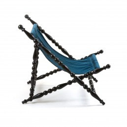 Black Foldable Deckchair Seletti Blue Front 1