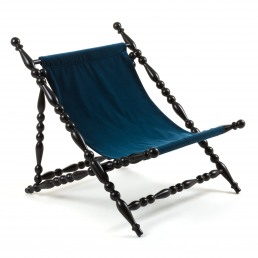 Black Foldable Deckchair Seletti Blue Racurs