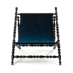 Black Foldable Deckchair Seletti Blue