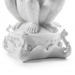 Candle Holder Detail Three Monkeys White Seletti