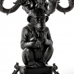Candle Holder Seletti Chimp Black Detail