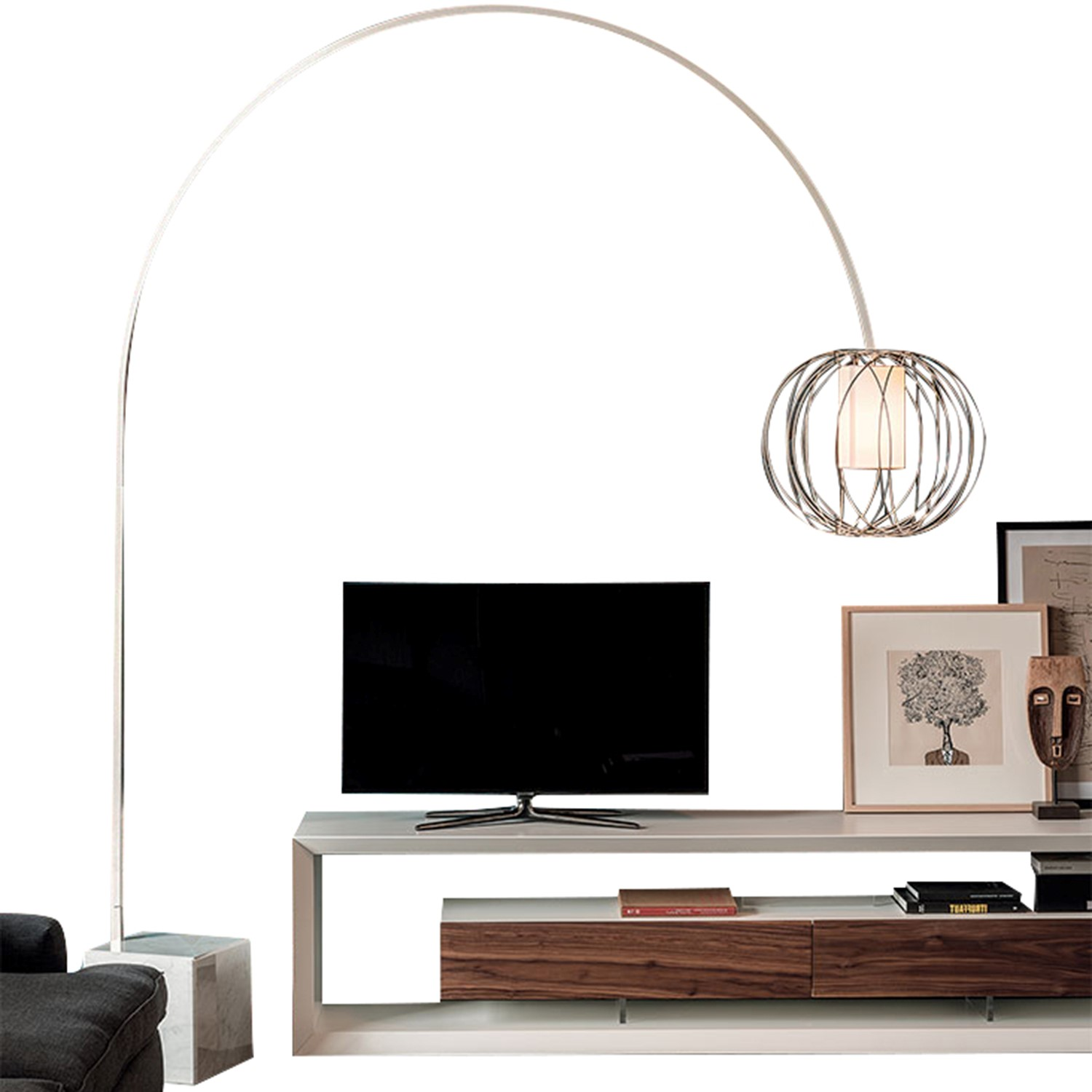 Cattelan Italia Midday Arc Floor Lamp White