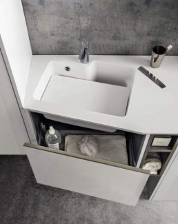 Cerasa Bathroom Gloss White Lacquered Chalky Ash Arrangement Top