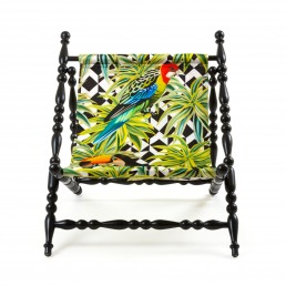 Foldable Deckchair Seletti Parrots Black