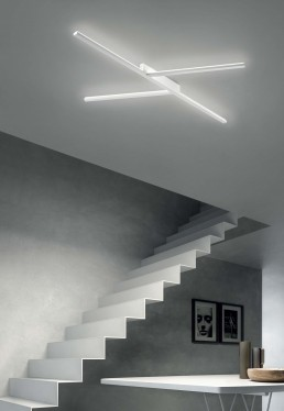 Linea Light Xilema ceiling white stairs