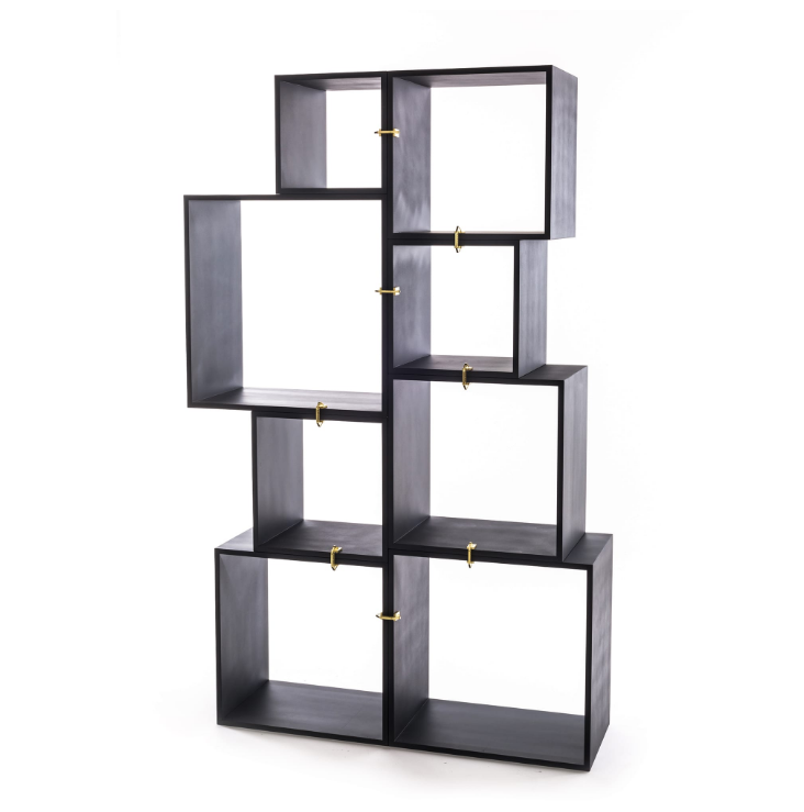 Modular Bookcase Seletti Assemblage Anthracite Composition Racurs