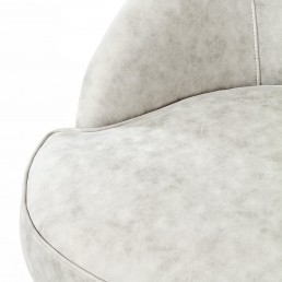 Round White Eco Leather Detail