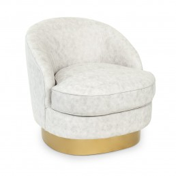 Round White Eco Leather