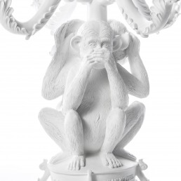 Seletti Candle Holder Three Monkeys White