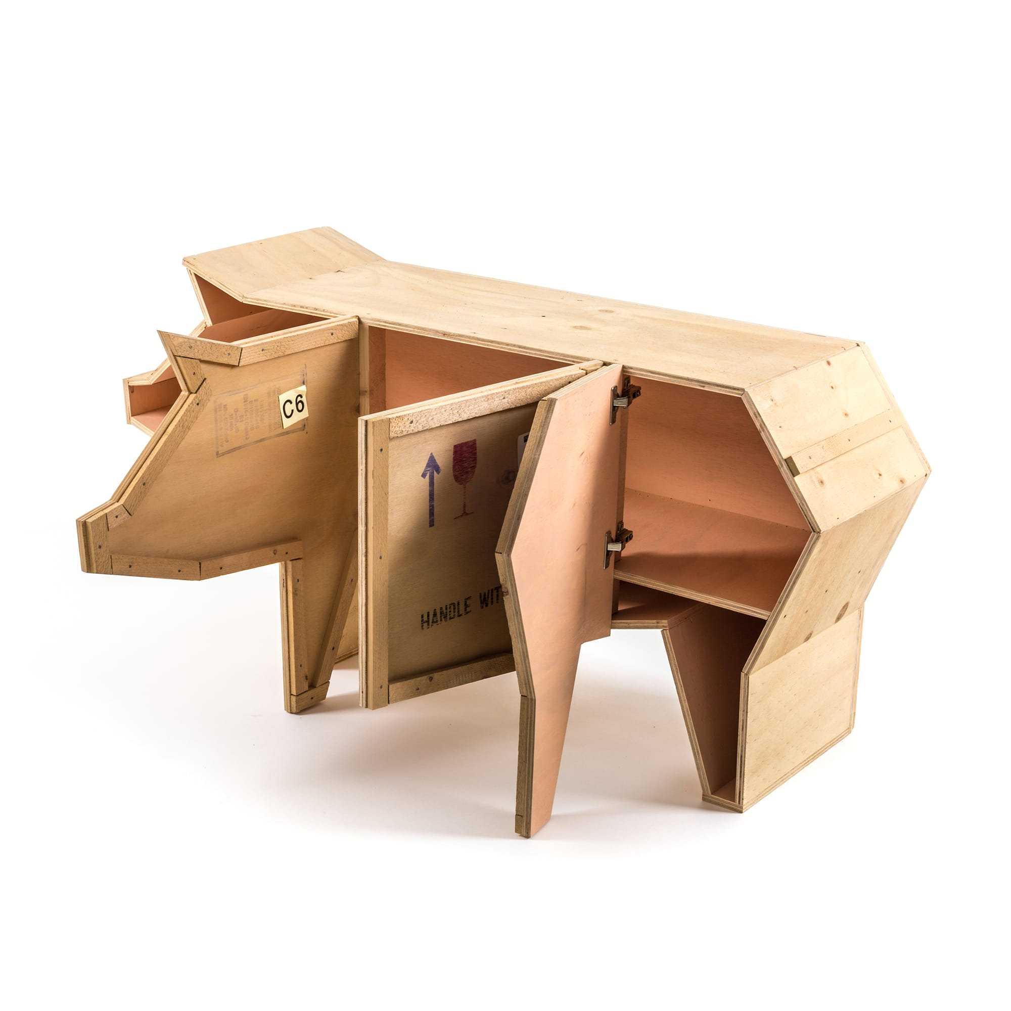 Seletti Wooden Furniture Sending Pig Open Racurs