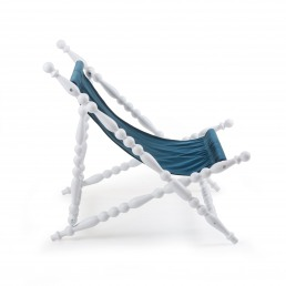 White Foldable Deckchair Seletti Blue Front