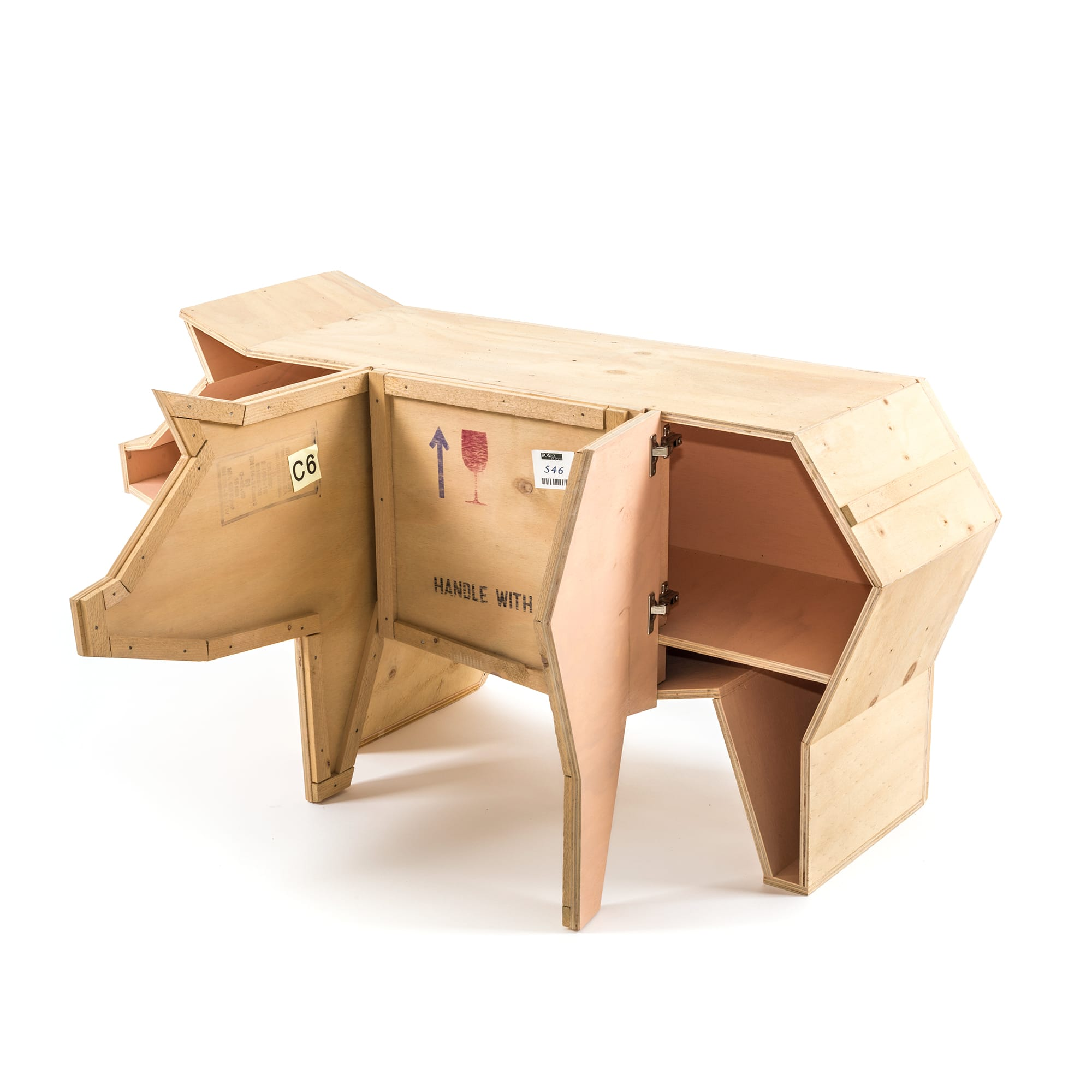 Wooden Furniture Seletti Sending Pig Open Racurs