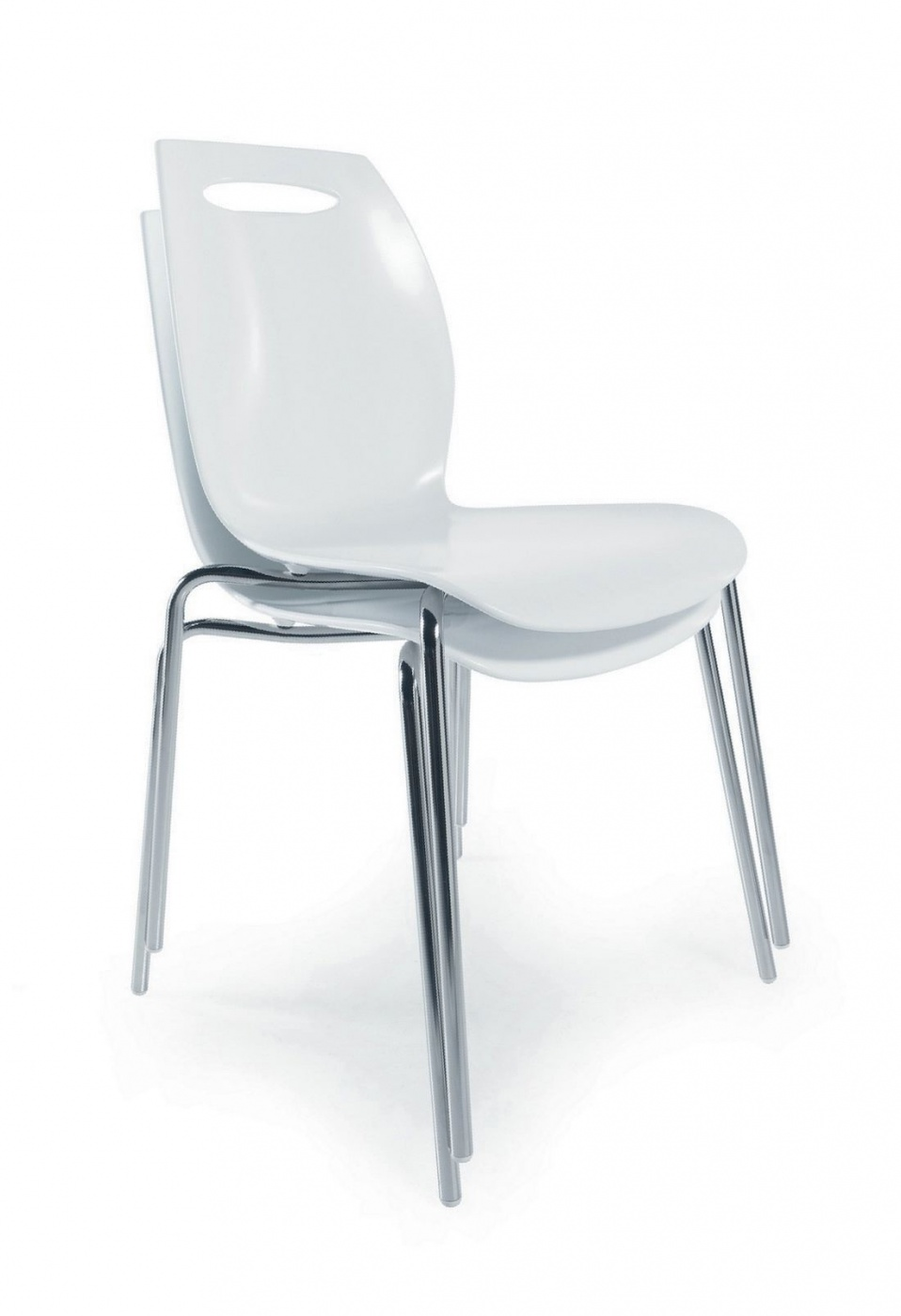 Steel with varnished or chrome-plated steel frame. Seat: composit technopolymer.