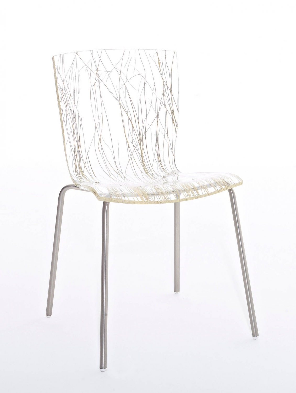 Chair with varnished or chrome-plated steel frame. Seat: methacrylate.