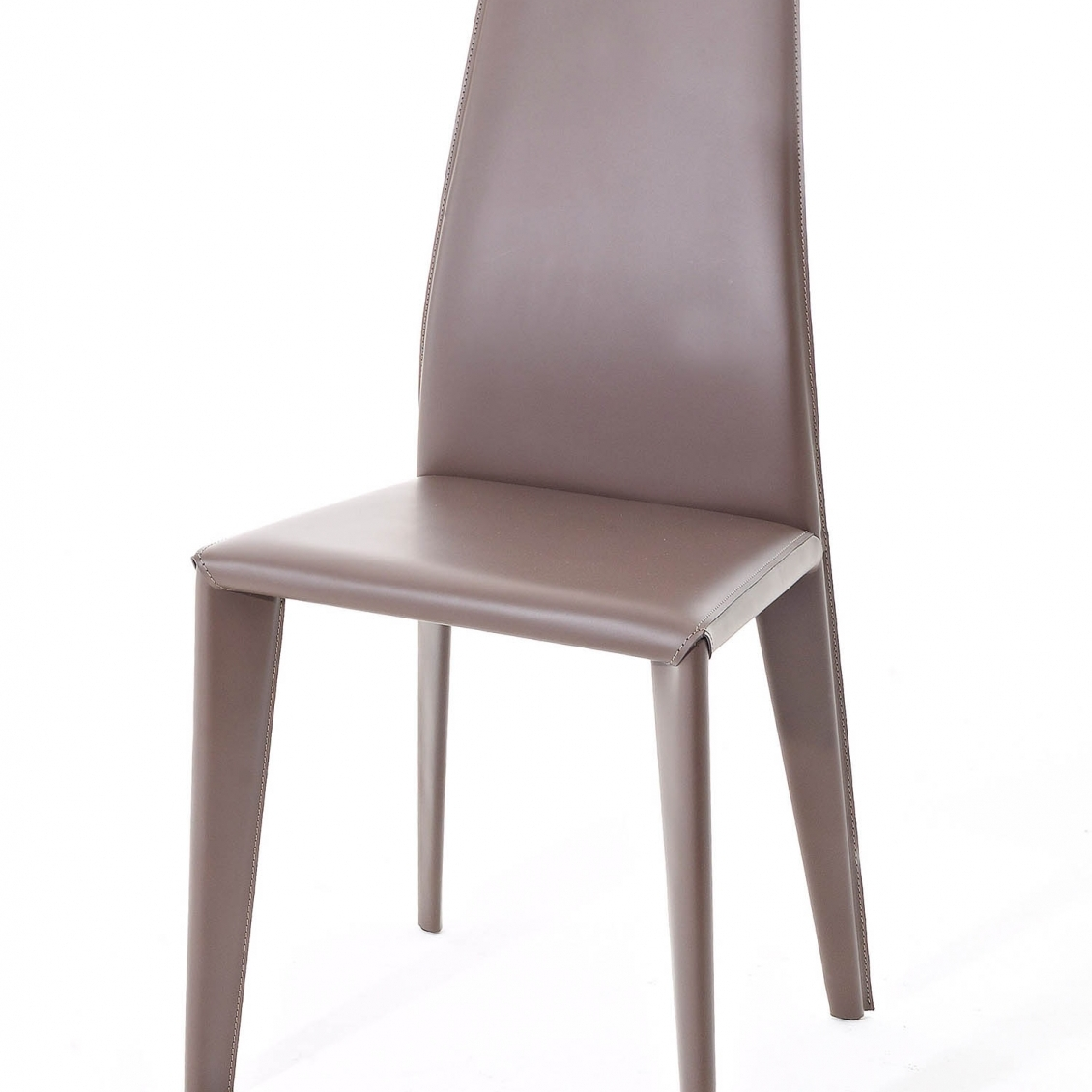 Chair with steel frame fully upholstered with hide. Contrasting stitching, on request. Of the same collection Karla.p armchair.