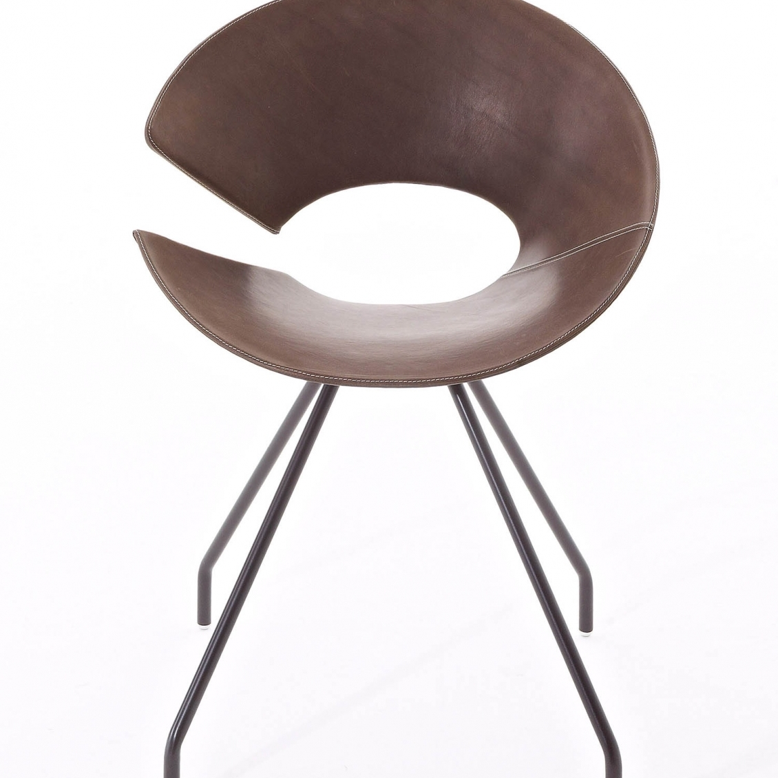 Diva chair whit varnished steel frame, coffie bown, vintage leather