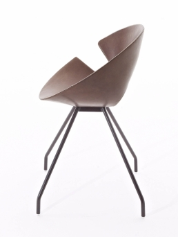 Diva chair whit varnished steel frame, coffie bown, vintage leather_sidejpg