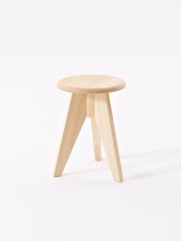 Stool in solid ash wood.
