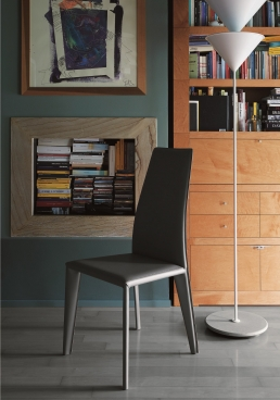karla chair upholstered white hide, charcoal gray colour