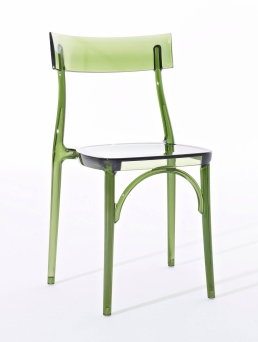 Chair in soft touch polypropylene or transparent polycarbonate, stackable and suitable for outdoor.