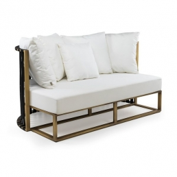 2 seater sofa gold and black